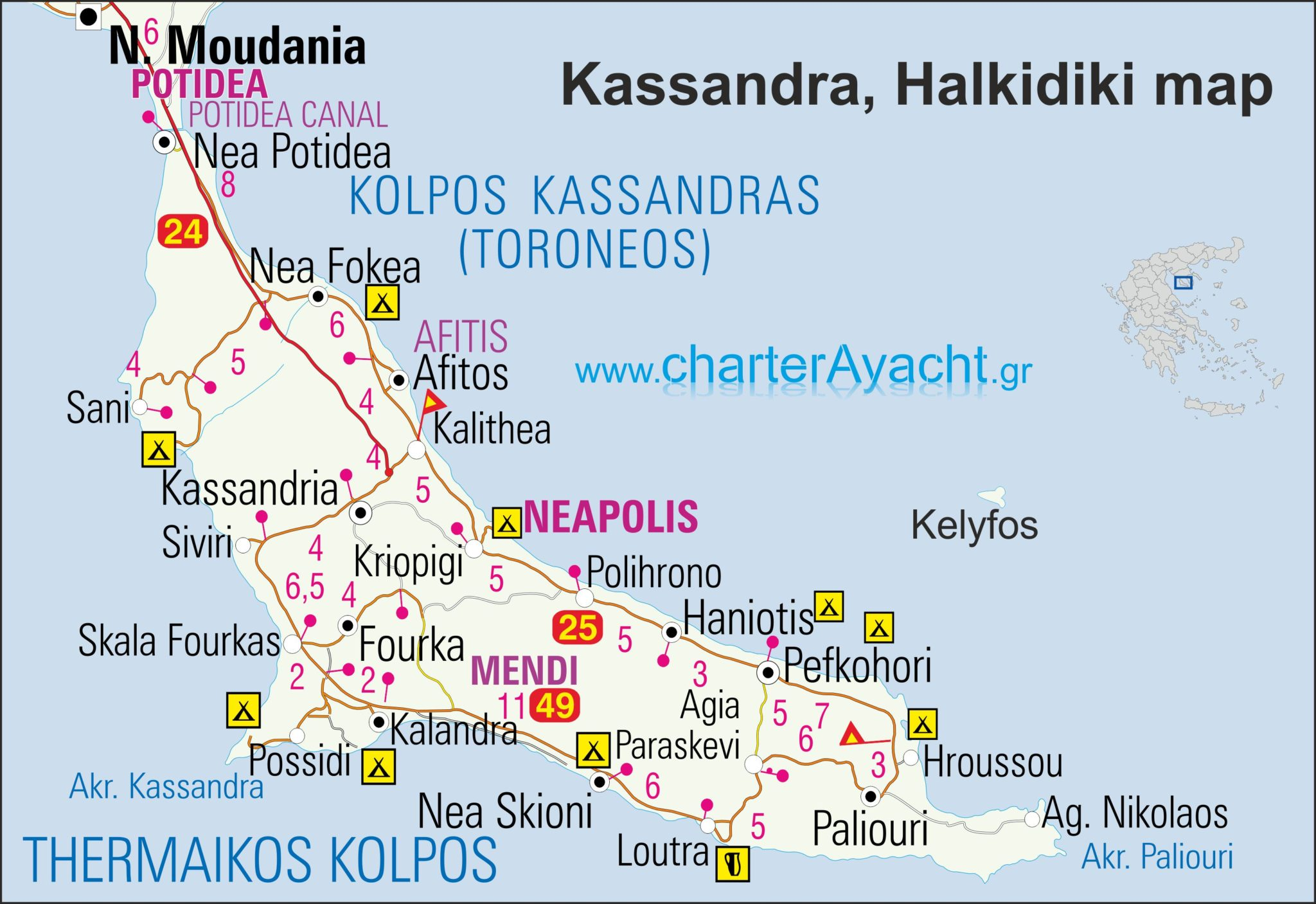 Maps - Halkidiki maps : Halkidiki sailing boat trips & N ...