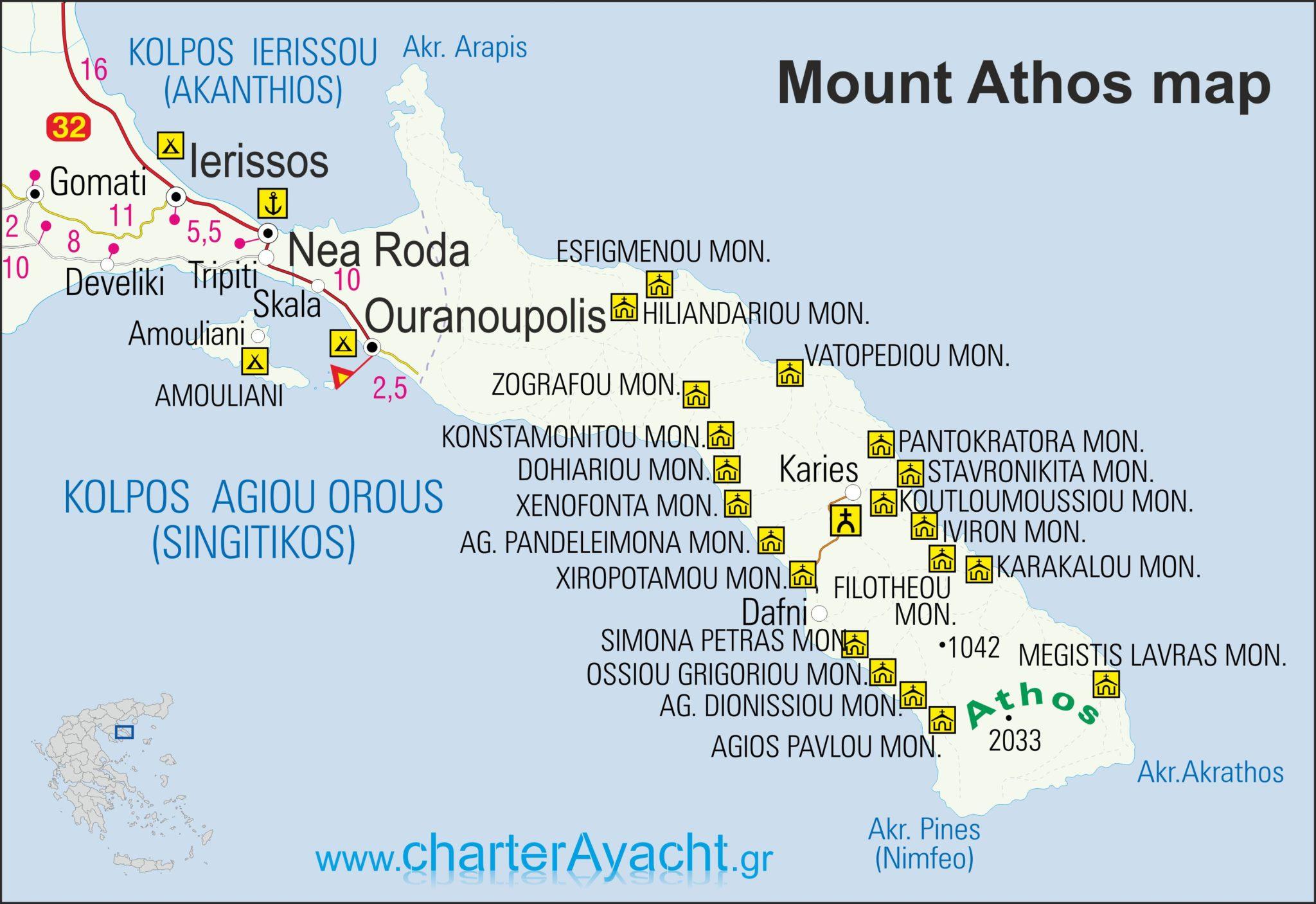 halkidiki atos mapa Maps   Halkidiki maps : Halkidiki sailing boat trips & N. Sporades  halkidiki atos mapa