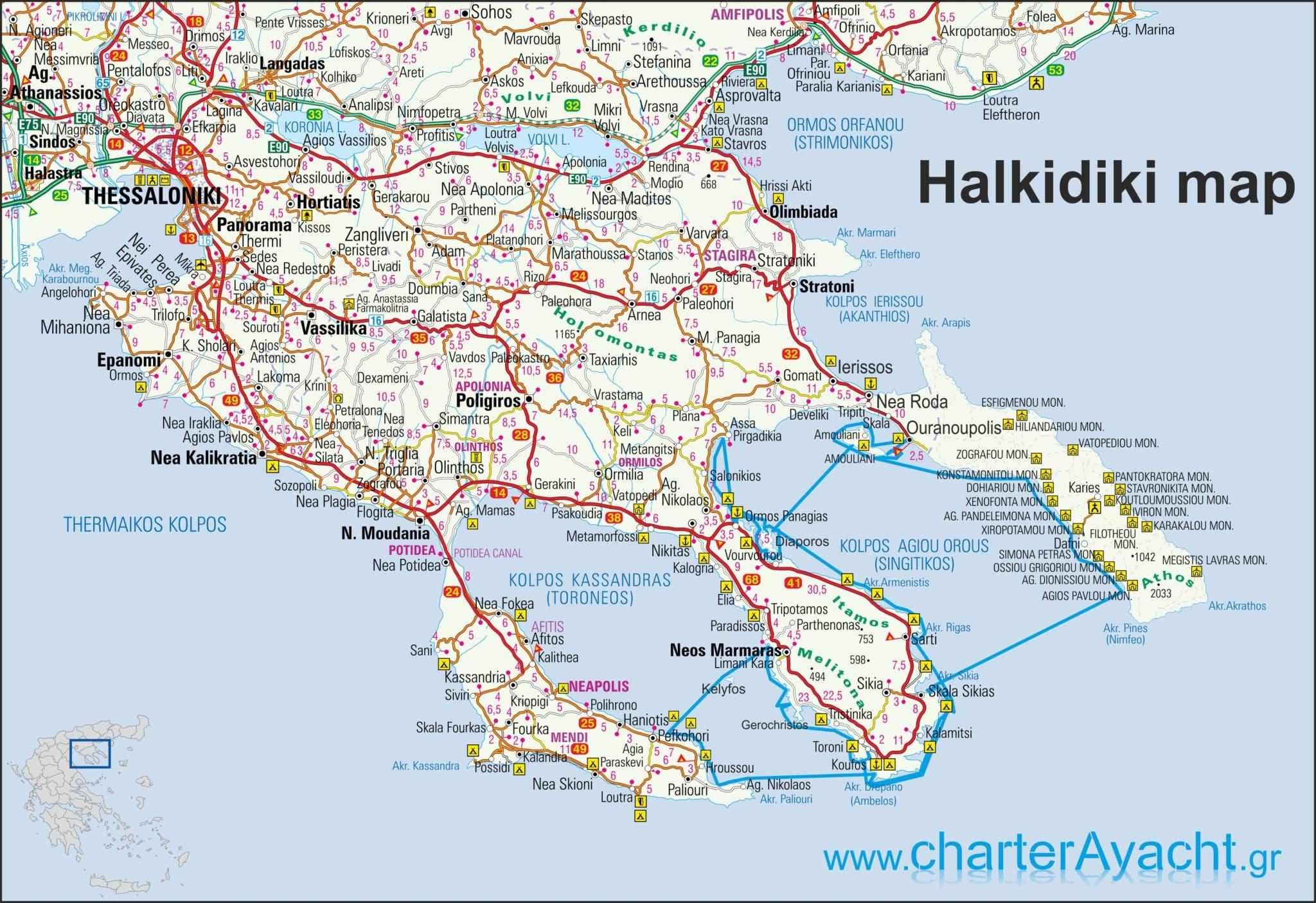 Halkidiki Atos Mapa Superjoden
