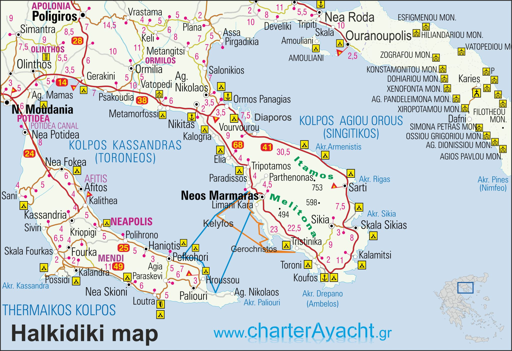 halkidiki mapa Maps   Halkidiki maps : Halkidiki sailing boat trips & N. Sporades  halkidiki mapa