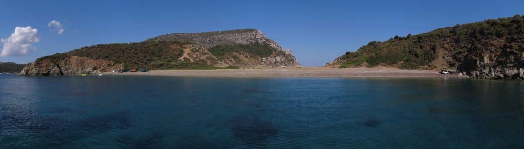 Marathias beach panorama at Sithonias edge